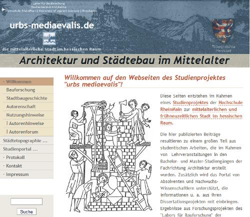 Webseite urbs-mediaevalis.de