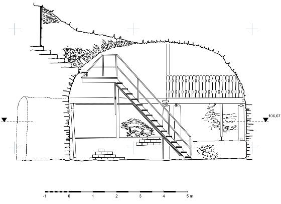 Querschnitt durch den Brunnenkeller,  gemessen und gezeichnet von Katja Sauter,  Daniela Suckau und Julia Zell)
