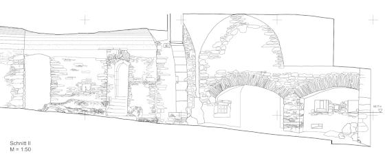 """Längsschnitt durch den """"Hellen Bogen"""" (gemessen und gezeichnet von Gruppe 9: Josefine Beusch,  Sinah Bohlen,  Henrik Mattes und Gruppe 10: Doga Can Albayrak,  Seyma Önal,  Berin Turan)"""